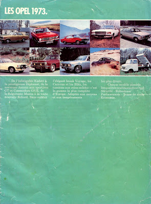 Front Cover of 1973 Opel Sales Brochure for France
