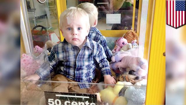 Balita Lucu Ini Terjebak dalam Mesin Pengambil Mainan