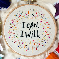 "embroidery by Simini Blocker: color burst with ""I can, I will"" inside"