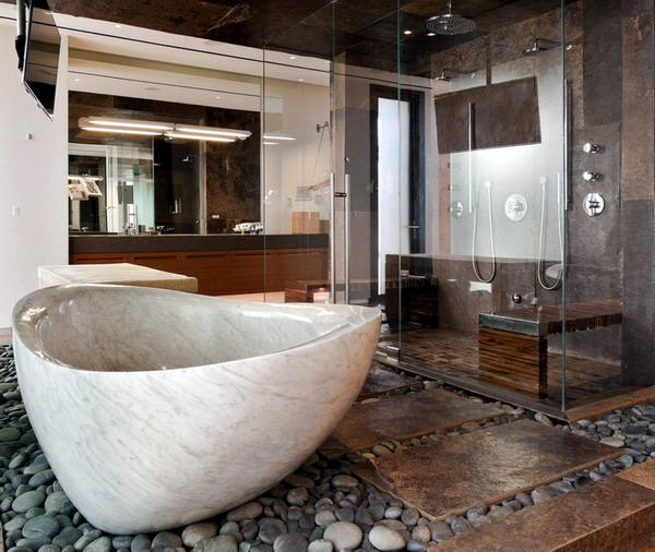 kamar mandi relaksasi alami degan batu dan bathup