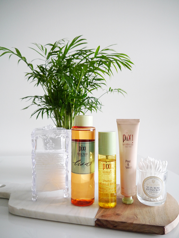 Pixi Glow Tonic, Pixi Skintreats Vitamin Wakeup Mist, and Pixi Skintreats Peel & Polish