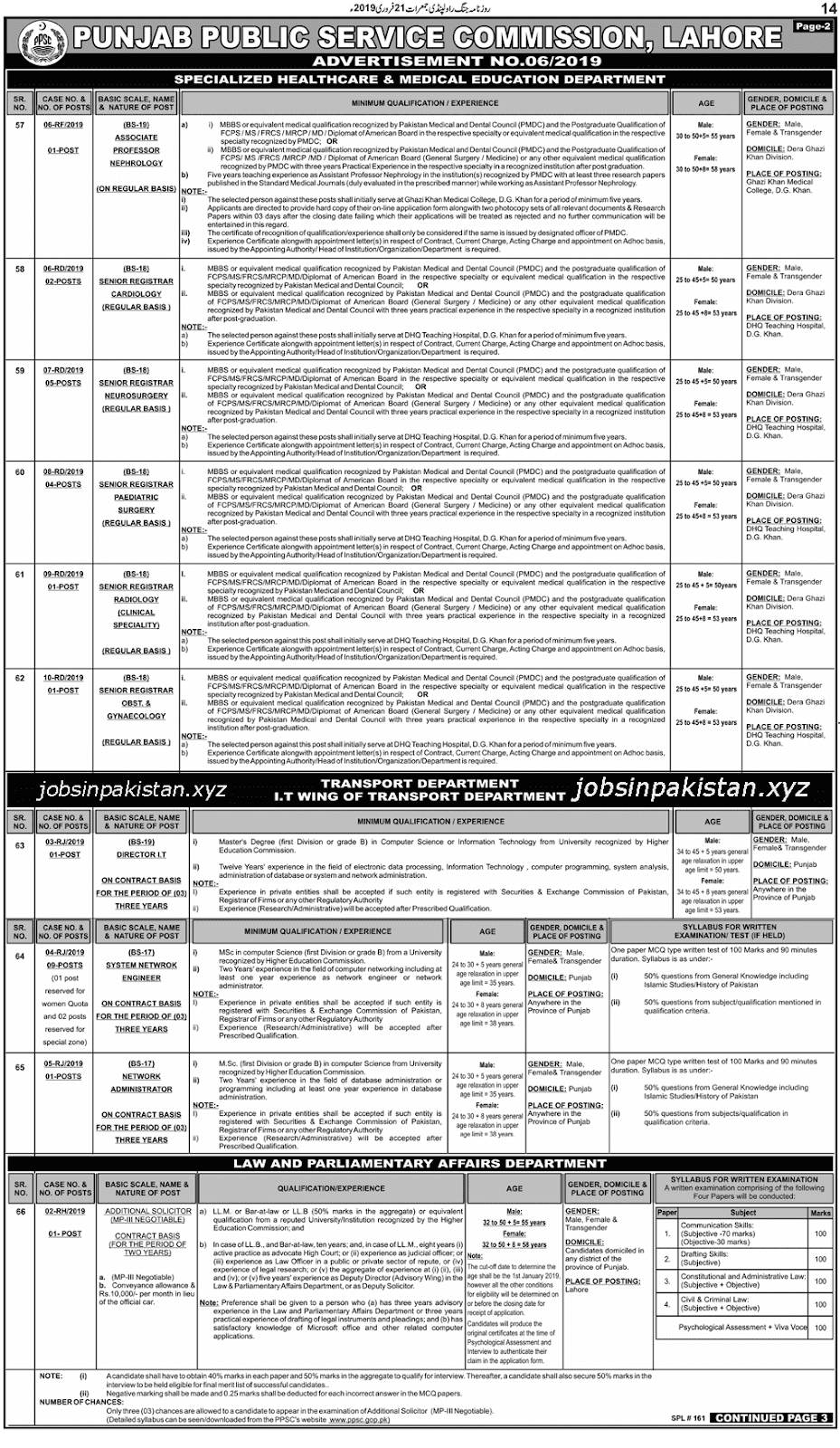 PPSC Advertisement 06/2019 Page No. 2/3