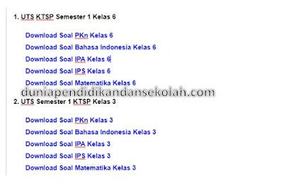 Soal Dan Kunci Jawaban UTS/ PTS Semester 1 KTSP Kelas 3 dan 6 SD