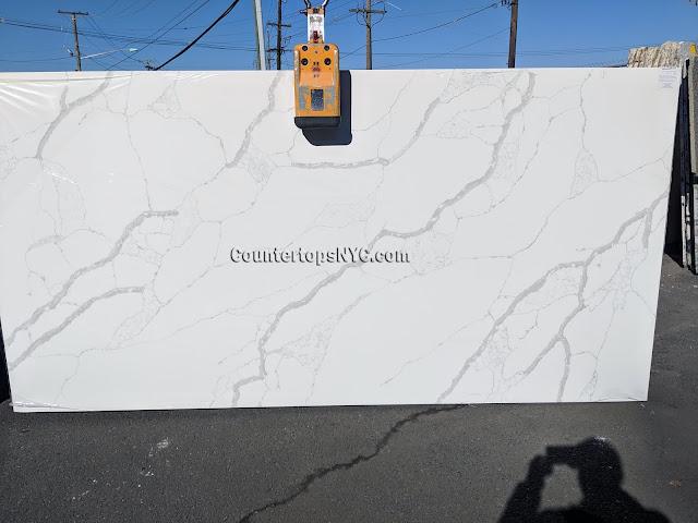 White quartz calacatta countertops kitchen NYC