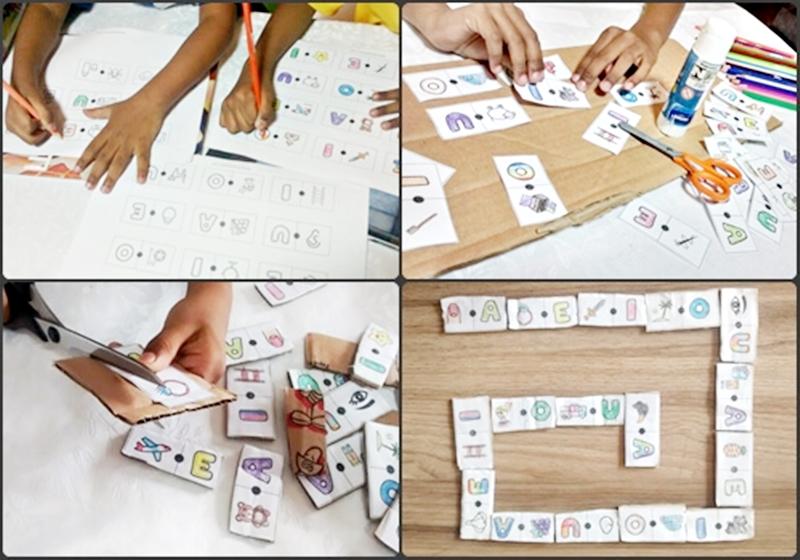 Jogo dominó ilustrado com as vogais