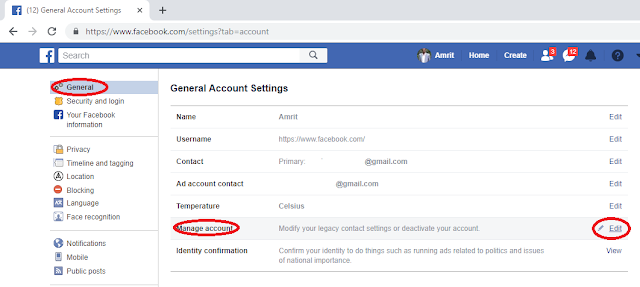 How to deactivate Facebook Account-- manage account