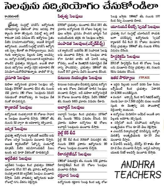 Ts ap leave rules in telugu types of leaves ts vidya volunteers all teachers and employess should follow the leave rulestailed leave rules are provided in telugu pdf file spiritdancerdesigns Images