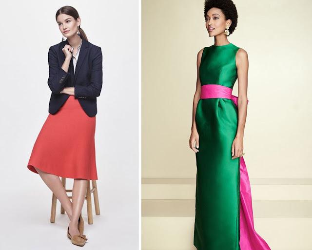 Красная юбка с синим жакетом и зеленое платье с розовым поясом