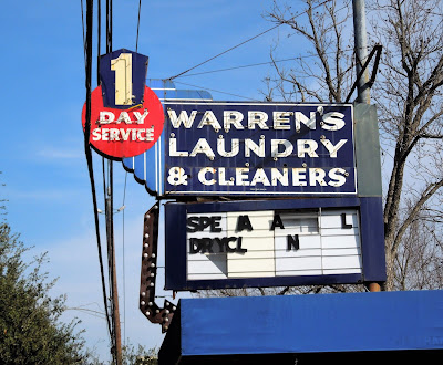 Warren's Laundry & Cleaners (old-time signage)