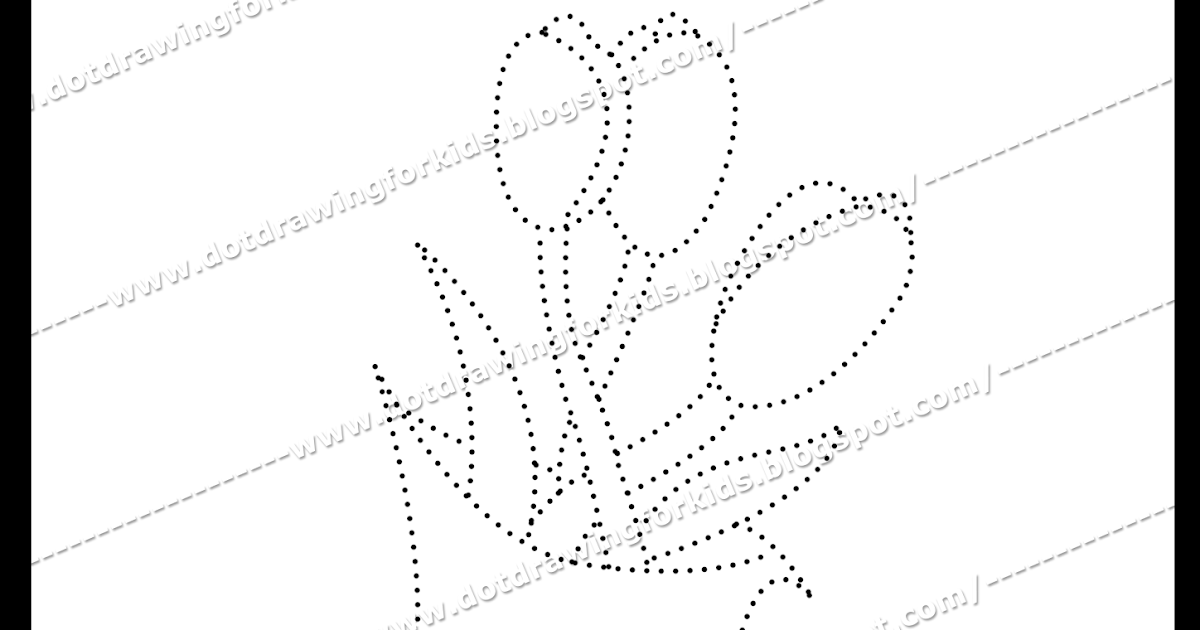 Line Art Flower Drawing : Dot drawing for kids flower dotted