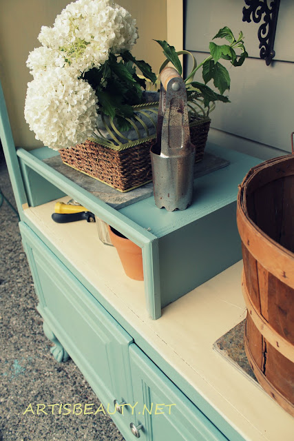 OLD FREE TV ARMOIRE TURNED OUTDOOR FARMHOUSE STYLE POTTING SHED