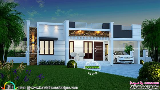 1450 square feet 3 bedroom one floor Kerala home design