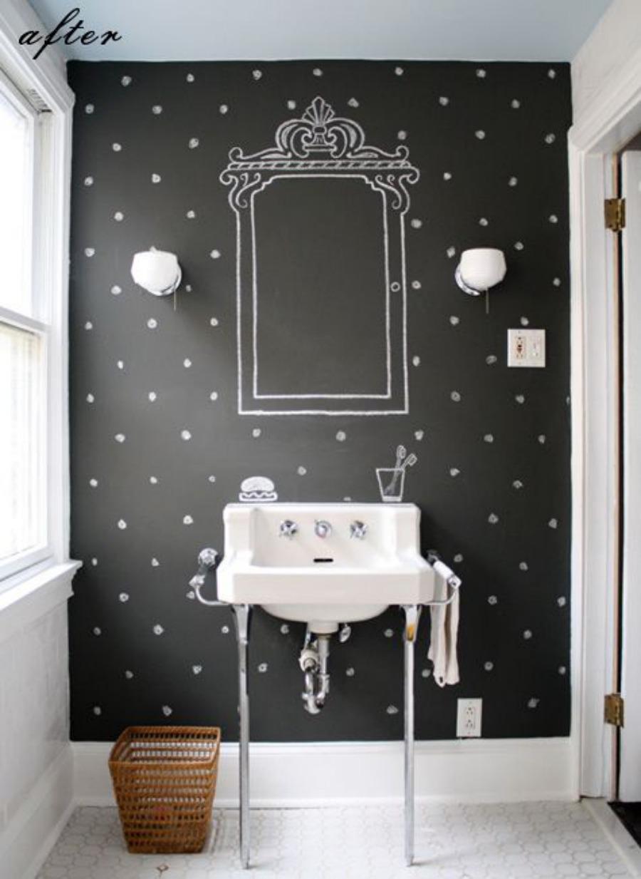 Pared de pizarra en el baño