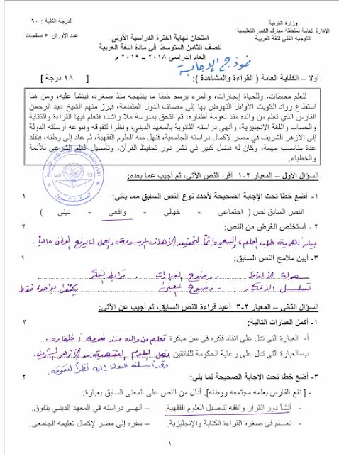 اجابة امتحان اللغة العربية للصف الثامن الفصل الاول نهاية الفترة الدراسية الاولي 2018-2019
