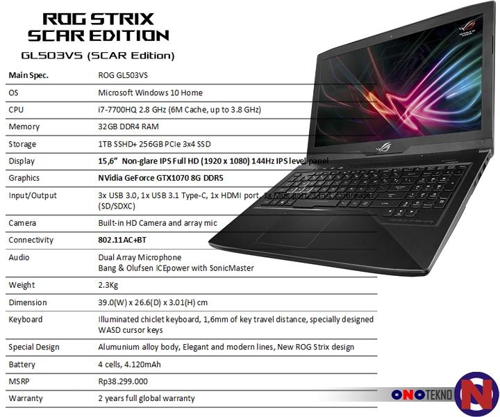 """ASUS ROG Strix GL503VS SCAR """" Generasi Terbaru Layar 144Hz Notebook Gaming ASUS ROG """""""