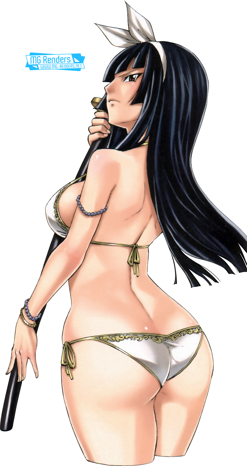 Tags: Anime, Render,  Fairy Tail,  Kagura Mikazuchi,  Looking back,  Mashima Hiro,  PNG, Image, Picture