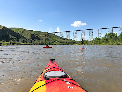 Kayaking the Old Man River in Lethbridge, Alberta