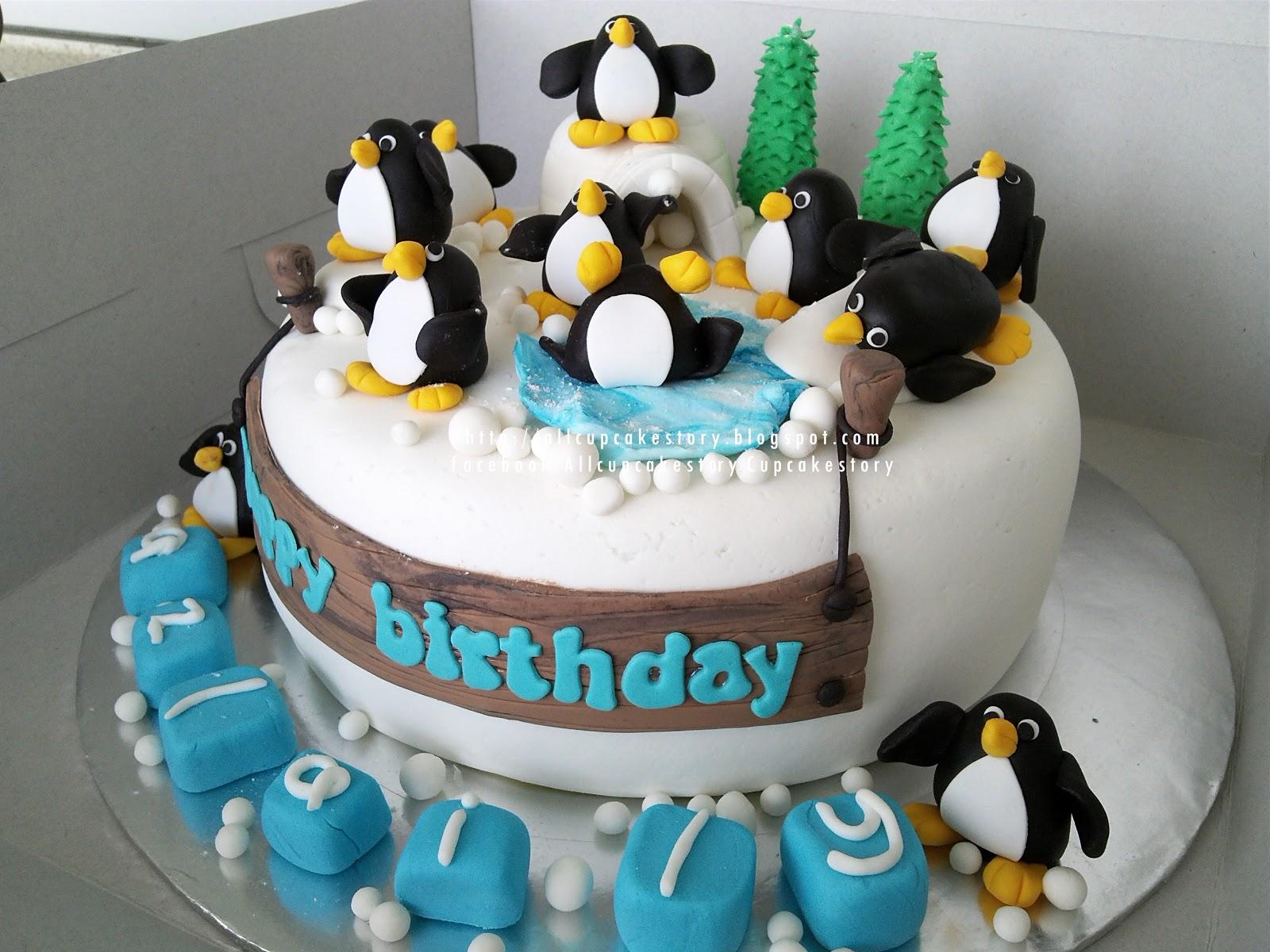 Allcupcakestory Penguin Birthday Cake