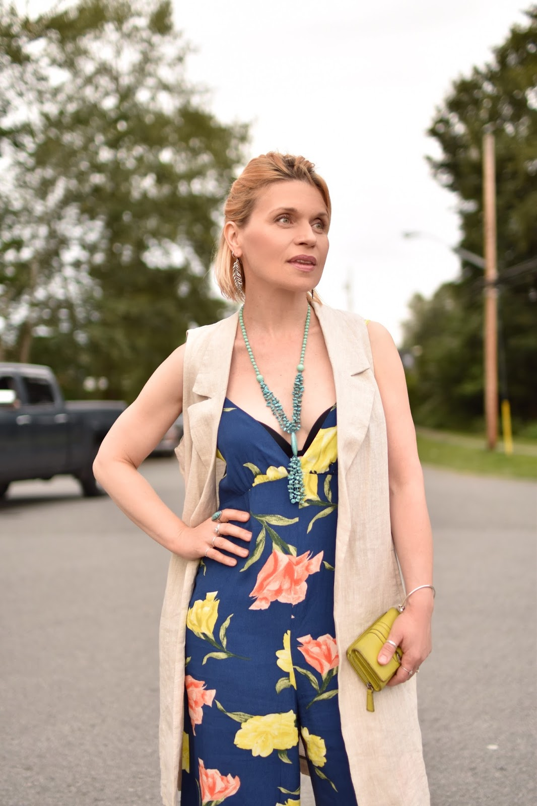 floral jumpsuit, sleeveless linen coat
