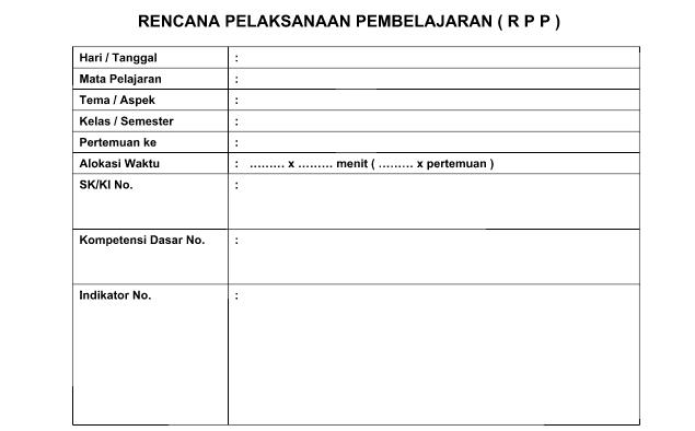 Format Blanko Kosong RPP Microsoft Office Word (docx)