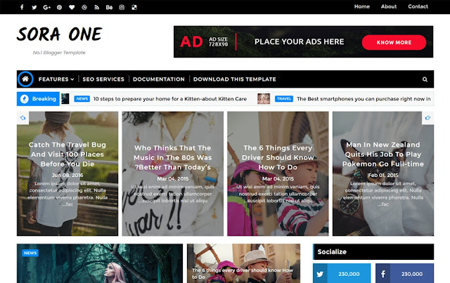 sora one responsive blogger template