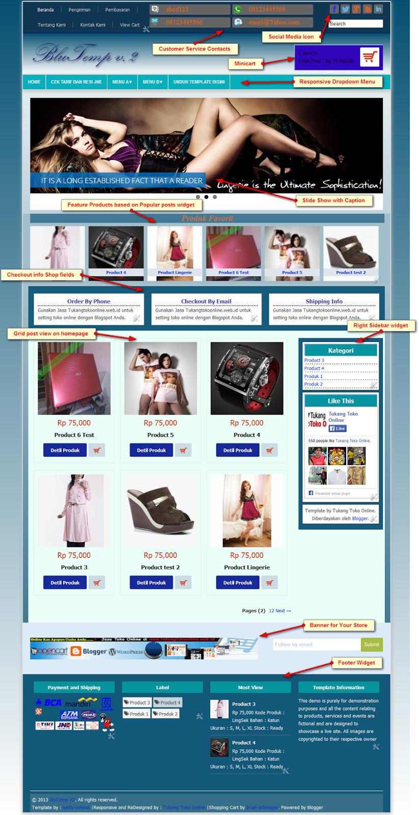Premium Template Toko Online Blogspot Responsive BluTemp v.2