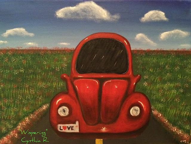 vocho rojo, Volkswagen rojo, volkswagen en un campo, pintura acrílica en canvas, acrylic painting on canvas