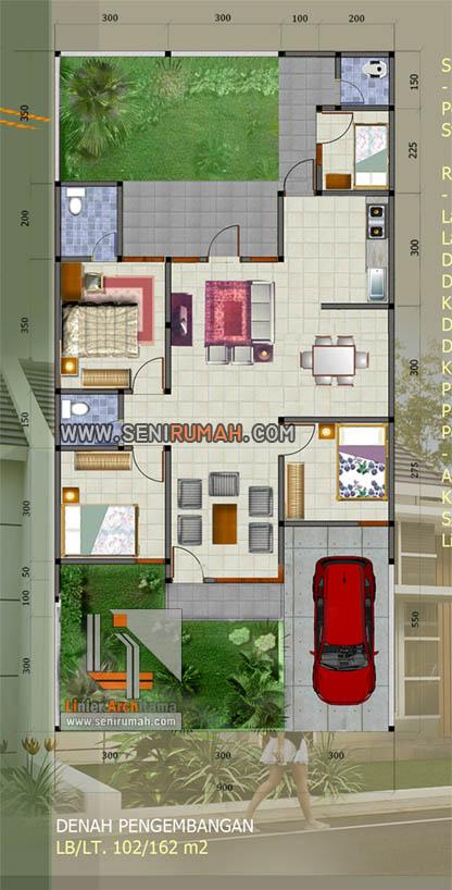 Denah Rumah Modern Minimalis 1 Lantai Type 70