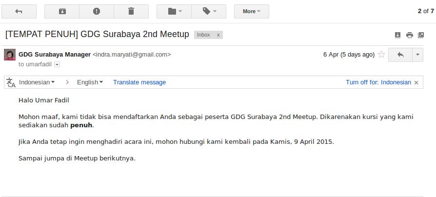 Pemberitahuan Kuota GDG Surabaya Penuh