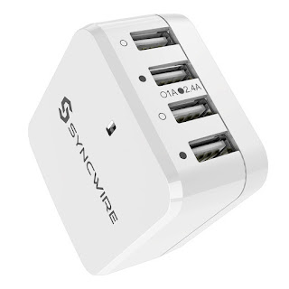 DEALS USB Charger Plug Syncwire 4-Port iSmart Desktop Charger Charging Station £10.49