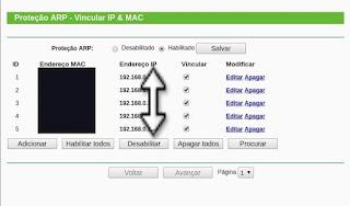 Configure o Arp do roteador