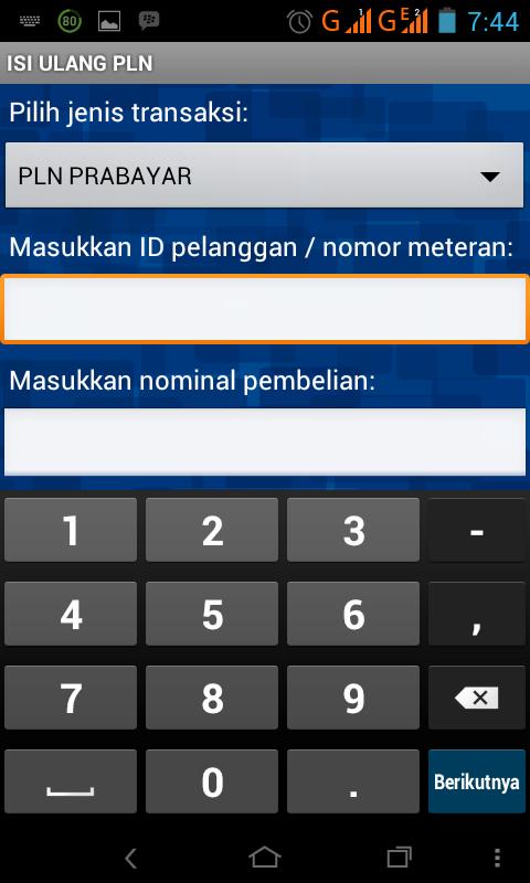 Pilih jenis transaksi dan klik PLN PRA BAYAR, masukkan ID pelaggan ...