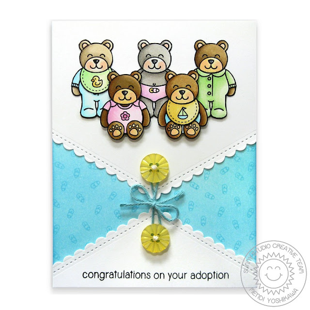 Sunny Studio Stamps: Fishtail Banners II & Baby Bear Adoption Card by Mendi Yoshikawa