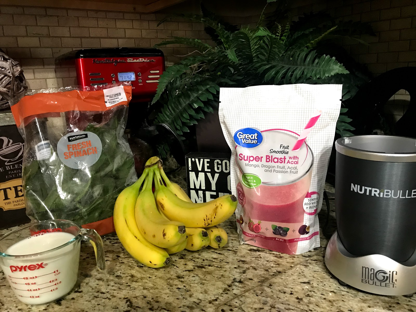 Image: Items used to make breakfast drink: Items Needed:  Any Frozen Fruit: I Chose the individual pre bags. They are easy to use for beginners.   Frozen Spinach: Optional  Bananas, Coconut Milk, Soy, Water or Almond Milk. The choices are limitless.  Honey - I like a natural bit of sweetness.