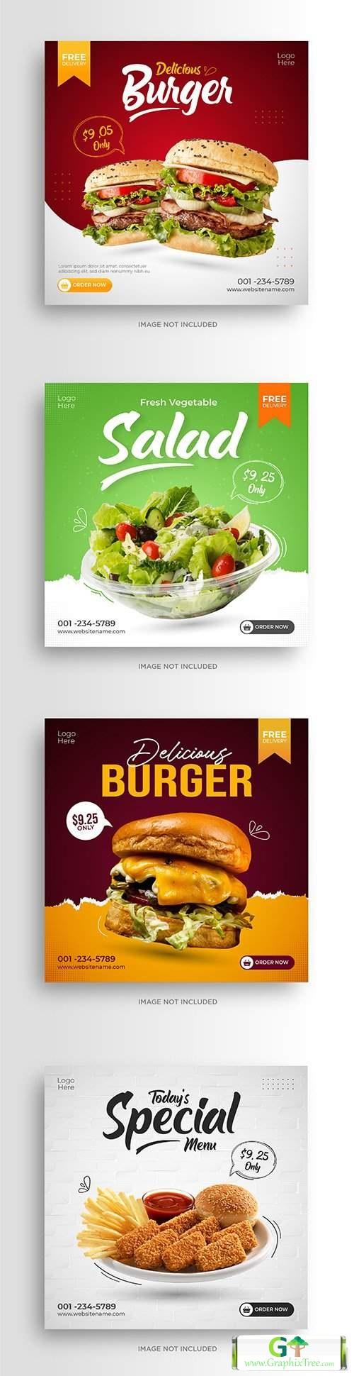 Social media promotion menu instagram banner template