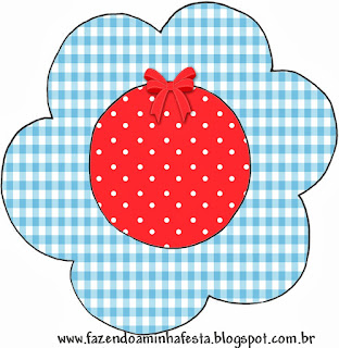 Red and Light Blue Squares: Free Printable Cupcake Wrappers and Toppers.