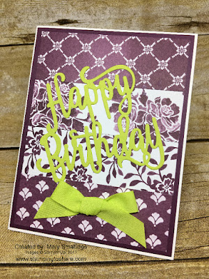 Stampin' Up! Happy Birthday Thinlits Die Card created by Mary Smallidge for Stamping to Share July Meeting Swap.