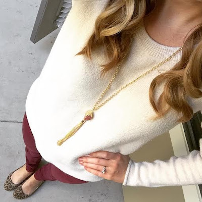 As Told by Stacy, burgundy, leopard and cream outfit.