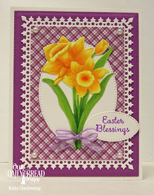 Our Daily Bread Designs Stamp Set: Daffodils, Custom Dies: Daffodil, Pierced Rectangles, Pierced Ovals, Lavish Layers, Paper Collection: Plum Pizzazz