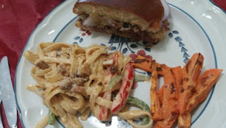 Unami Burger with Miso-Marinated Beef- and cajun chicken pasta