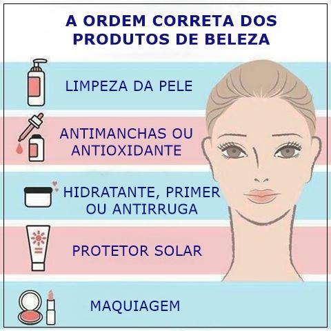 A ordem certa de aplicar os produtos de beleza!