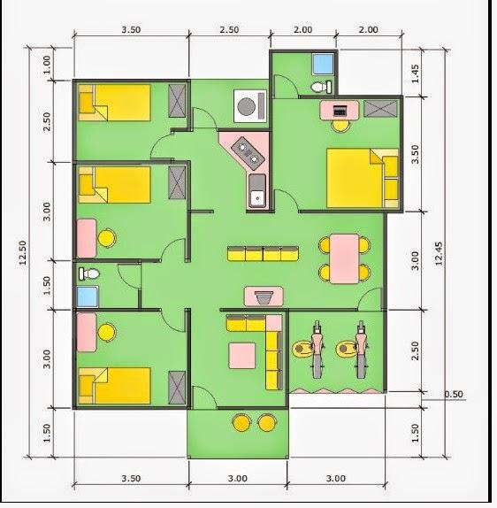 Sket Desain Rumah  Minimalis  Type 36 dengan 4 kamar  Mas Yadi