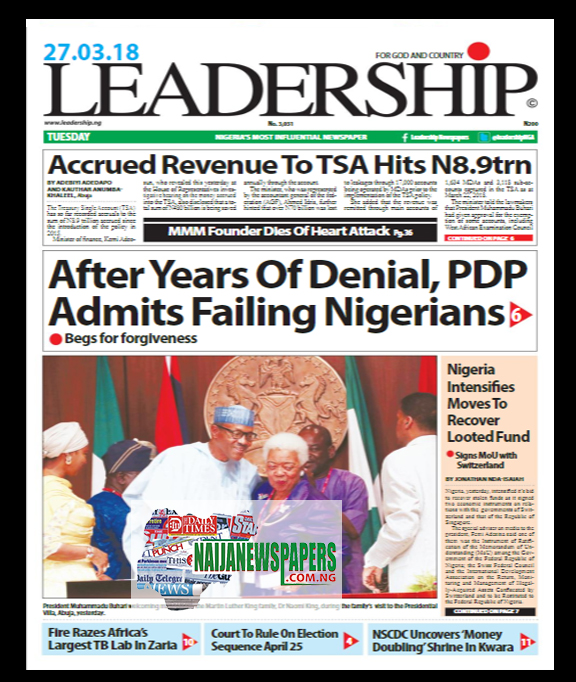 Image result for newspaper front pages for today tuesday 27 March 2018 nigeria