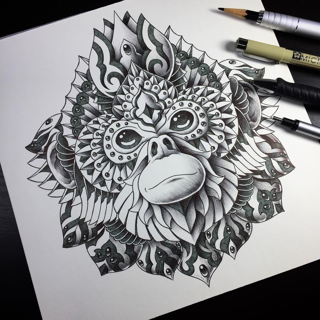 07-Golden-Snub-Nosed-Monkey-Ben-Kwok-bioworkz-Animals-Drawings-Detailed-with-Elaborate-Geometric-Shapes-www-designstack-co