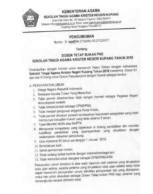 Pengumuman Penerimaan 24 Dosen Tetap Sekolah Tinggi Agama Kristen Negeri (STAKN) Kupang