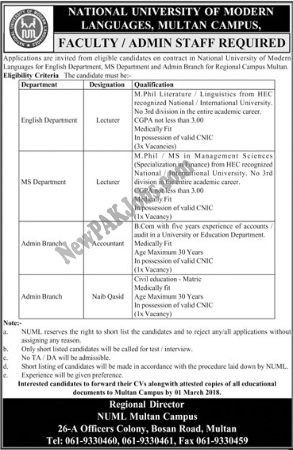 National University of Modern Languages NUML Jobs in Multan Today Feb 2018