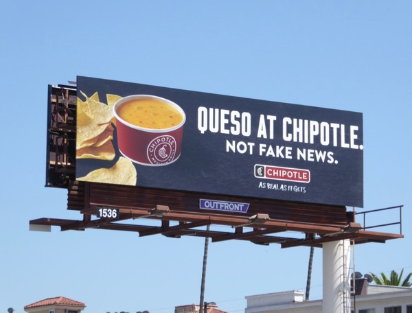 Queso Chipotle Not fake news billboard