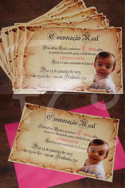 Convite Padrão 10X15 cm - Tema Princesa