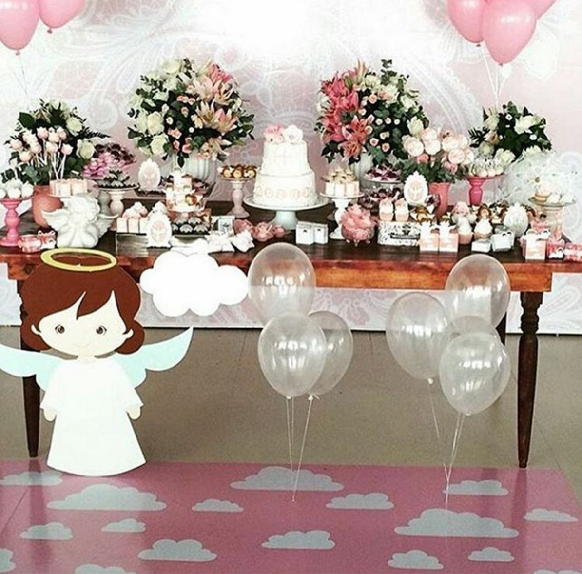 Ngeles para decorar la mesa de dulces de bautizo for Decoracion con plantas para fiestas