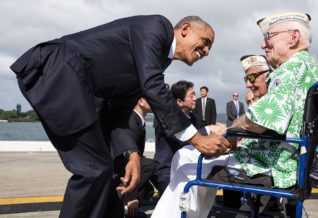 President Obama during a historic visit to Pearl Harbor with Japanese Prime Minister Shinzo Abe